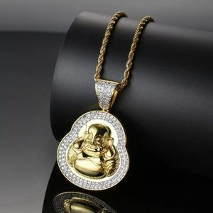 "Other - 14k Gold Buddha Micro Pave Pendant 24"" Rope Chain"